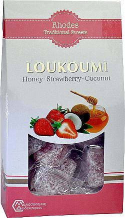 Loukoums with honey strawberry and coconut 250gr