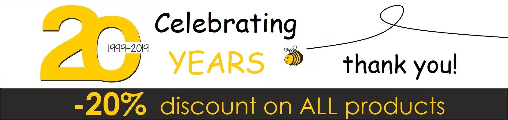 20 YEARS 20 DISCOUNT HONEY PRODUCTS